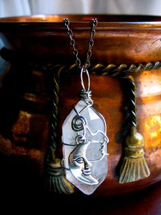 Large Quartz Crystal and Crescent Moon Necklace by EireCrescent, $24.99