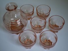 Vintage Pink Glass Aperitif Carafe with Six Glasses $24