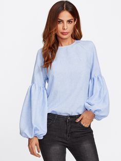 SHEIN Exaggerated Lantern Sleeve Keyhole Back Top Blue Casual Womens Long Sleeve Tops Autumn Womens Tops and Blouses Stylish Dress Designs, Black Dress With Sleeves, Cool Outfits, Fashion Outfits, Mode Hijab, Blue Fashion, Blouse Designs, Casual, Long Sleeve Tops