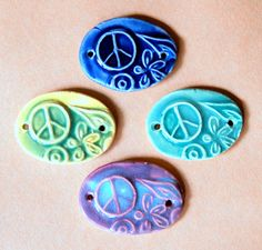 4 Handmade Peace Sign Beads  Ceramic Bracelet beads by beadfreaky, $10.00