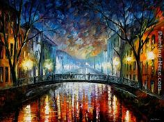 TOUCH this image: Leonid Afremov misty bridge by Hannah Nelson