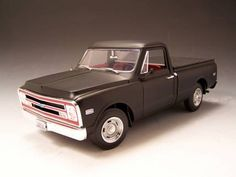 1968 Chevy C-10 Pickup Truck - Matte Black (Highway 61) 1/18 Chevy Trucks, Pickup Trucks, Ford Bronco, Diecast Model Cars, Pick Up, Scale Models, Matte Black, Tattoo Ideas, Beautiful