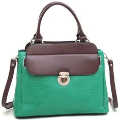 Hot Dasein Tall Soft Matte Croco Embossed Satchel with Buckle Accent & Shoulder Strap-Mint Green