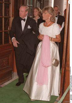 Príncipe Johann Georg de Hohenzollern e Princesa Birgitta Suécia maio 1996, em Estocolmo, durante os 50 anos do Rei Carl XVI Gustaf da Suécia.  Johann Georg, apelidado de Hansi, morreu aos 83 anos 2 março 2016, em Munique.