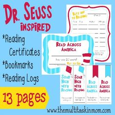 Inspired by Dr. Seuss, these fun and FREE Reading Incentives will get your kids excited about reading!! Includes Reading Certificates, Reading Logs and Bookmarks! :: www.mamagoesfrugal.com