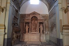 Santa Maria Nova,Naples.  Chapel of the Turbolo family.  Altar features statues of Immaculate Conception, St. Francis and St. Bernardino by Girolamo D'Auria, 16th century .