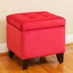 Newman Square Red Microfiber Storage Ottoman