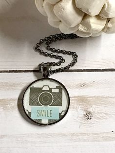 Camera Necklace Camera Pendant Smile by GracieLouDesignsCo