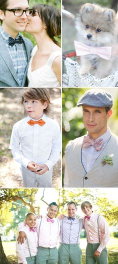 Trend: Bow Ties (I really want my husband to just wear a super tight vest like this and an outdoor wedding)