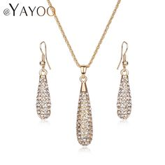 Wedding Jewelry Sets For Brides Women Gold Color Beaded Tendy Necklaces Pendants Earrings African Beads Water Drop Accessories #Affiliate