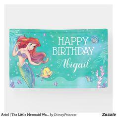 Disney Princess Gifts, Disney Princess Birthday, Custom Birthday Banners, Birthday Supplies, Outdoor Banners, Ariel The Little Mermaid, Party Hats, Birthday Party Decorations, Birthday Invitations