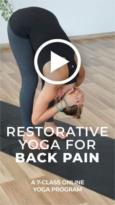 """Find relief. This program features seven restorative yoga classes specifically designed to target and relax different areas of your body that can lead to and cause back pain. Systematically working through these main """"problem"""" areas of the body that can create back pain, this course will help you to alleviate tension and stress straight from the cause. #backpain #restorativeyoga Lower Back Pain Stretches, Lower Back Pain Causes, Lower Back Pain Relief, Yoga For Back Pain, Sciatica Stretches, Beginner Yoga Workout, Online Yoga Classes, Yoga For Flexibility, Restorative Yoga"""