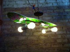 Skateboard Lighting - hmmm....one for each son for X-mas? diy home decor, craft, ceiling fans, light fixtures, lamp, kid rooms, boy rooms, skateboard, design