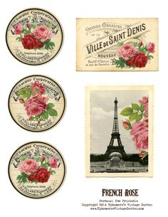 Ephemera's Vintage Garden: Free Printable - French Rose Cards/Tags- click on the image- save as!