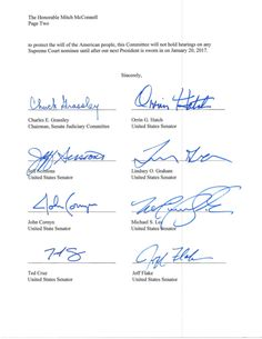Judiciary Committee Letter Opposing Supreme Court Hearings