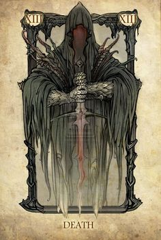 Tarot: Death by ~SceithAilm. A set of Tolkien-themed Tarot cards. Lotr, Dark Fantasy, Fantasy Art, Art Harley Davidson, Tarot Death, Art Carte, O Hobbit, Aragorn, Gandalf