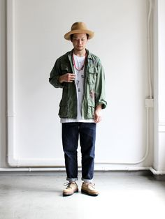 SHANANA MIL OG107 TROPICAL JACKET Camo Outfits, Dope Outfits, Fashion Outfits, Military Fashion, Mens Fashion, Red Wing Boots, Outfit Grid, Japanese Street Fashion, Work Looks