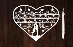 Valentine Gifts, How Long Will I Love You, Handcut Papercut, Christmas Gifts, Wedding Gifts, Birthday Gifts, Anniversary Gifts