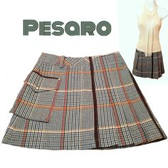 High-quality Pesaro plaid kilt skirt Beautifully unique Pesaro plaid kilt skirt.  Size 4.  Measurements: Waist 14 inches, Length 15 inches.  This skirt is just fabulous.  Plaid colors include: brown, turquoise, beige, cream, brown, navy/black. One large external pocket on right side and pleats on left side. In back there is a left pocket and zipper closure.  Three offset belt loops.  Excellent condition - like new. Fully lined Pesaro Skirts Mini