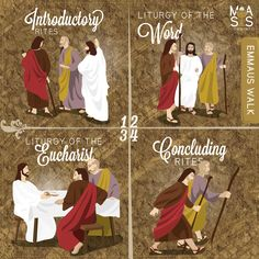 The story of #Emmaus walk forms a direct parallel to the four parts of the mass. INTRODUCTORY RITES: Like the disciples, Jesus enters into our presence. LITURGY OF THE WORD: Jesus taught and explained scripture to them and to us. LITURGY OF THE EUCHARIST: Jesus took bread, blessed it, broke it and gave it to them. CONCLUDING RITE: The disciples went back bearing the good news of Christ – we are also sent to do likewise. Catholic Religious Education, Catholic Memes, Catholic Answers, Catholic Religion, Catholic Kids, Catholic School, Roman Catholic, Catholic Churches, Catholic Sacraments