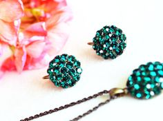antiqued brass jewelry set red emerald green swarovski by sestras, $44.90