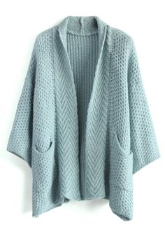 Cozy Waffle Knit Cardigan in Blue - Tops - Retro, Indie and Unique Fashion