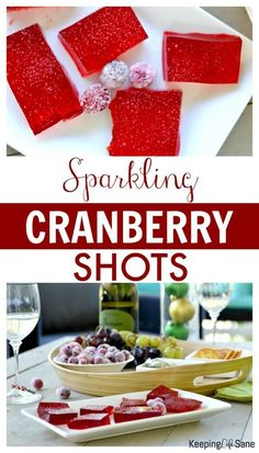 These sparkling cranberry shots are the perfect thing for your next holiday get-together! Can you guess the secret ingredients? #ad #RiondoProsecco #Prosecco #RiondocCocktail #Cocktail #Shots