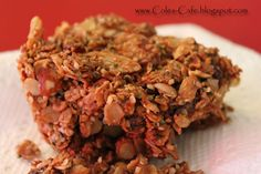 Coles Cafe: Power Bars: Loaded with Protein & Fiber, uses honey not sugar, and is vegan! Yum yum :)