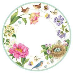 Caspari Spring Sketchbook Signs of Spring Printed Paper Dessert Plates Wholesale 13060SP