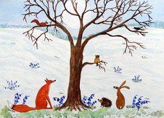Original Watercolour Painting - FOX, HEDGEHOG, HARE, OWL, SQUIRREL & CROW | eBay