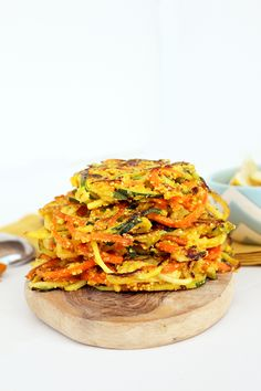 Spiralized Vegetable Cornmeal Fritters carrot, zucchini, eggs, cornmeal, turmeric, olive oil,  scallions (untested-use onion or leeks)