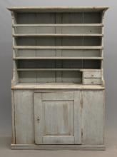 Lot # : 451 - c. Cupboard Price Realized: USD c. open top single door cupboard in blue paint. Note small drawers on top. x x Ht. Primitive Furniture, Primitive Antiques, Country Furniture, Antique Furniture, Painted Furniture, Country Cupboard, Wooden Cupboard, Antique Paint, Antique Decor