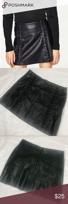Zara Sexy Vegan Leather Lace Up Mini Skirt Zara faux leather skirt with lace up detail. Perfect Condition Zara Skirts
