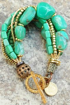 Amazonite, Mint and Gold Multi-Strand Bracelet