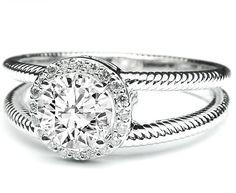 Diamond Halo Engagement Ring Rope split Band - ES603