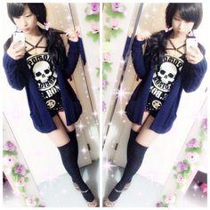 Kuro gyaru 96gal outfit / Skull / Leopard print / Casual