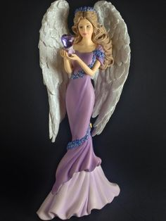 Hamilton Collection Thomas Kinkade Angels of Caring Purple Angel Figurine w COA