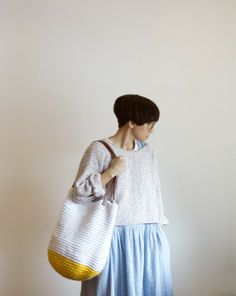 yokoo // cottage tote in yolk and egg white