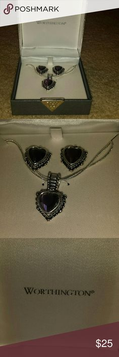 Earing and Necklace Set Purple gems, never worn, silver chain and earing set, still in original box Worthington Jewelry Necklaces