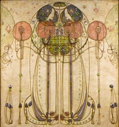 "This is the central panel of a gesso wall frieze titled ""The Wassail"" by Charles Rennie Mackintosh from 1900. If you look closely enough, you can see the beads, string, and steel pins that embellish it. Mackintosh was a Scottish painter, architect, and designer of Art Nouveau and is often labelled as the pioneer of the Modernist Movement"