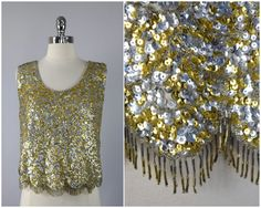 vintage 60s silver and gold beaded fringe and by PinkhamRoadRetro