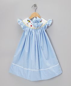 Take a look at this Light Blue Seersucker Dress & Bow Clip - Infant, Toddler & Girls by Molly Pop Inc. on #zulily today!