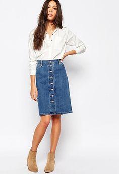Levi's button down denim knee length skirt