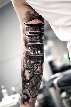 Cool House on Arm Tattoo Idea