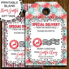 Blank from santa printable christmas gift tags special delivery