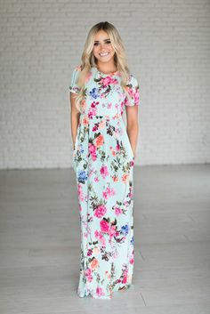 Megan Mint Floral Maxi