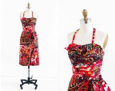vintage 1950s dress / 50s dress / Hawaiian Novelty Print Red Wiggle Dress on Etsy, $368.18 CAD