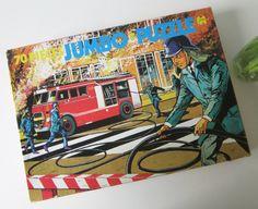 Vintage Children's Puzzle with a Fireman, Fire engine  made by Jumbo Holland 60s door Vantoen op Etsy