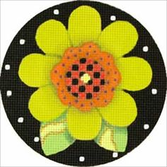 Melissa Shirley Designs | Hand Painted Needlepoint | Green Posy