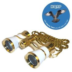 3 x 25 Opera Glass Binocular White pearl with Gold Trim w/ Necklace Chain by HQRP plus Coaster